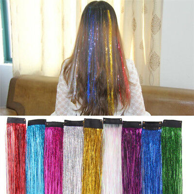 Holographic Glitter Tinsel Hair Extensions Sparkle Highlights Party Strands GA • 1.87£