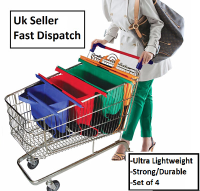 Trolley Bags Set Of 4 Reusable Supermarket Shopping Bags Foldable Washable • 14.99£
