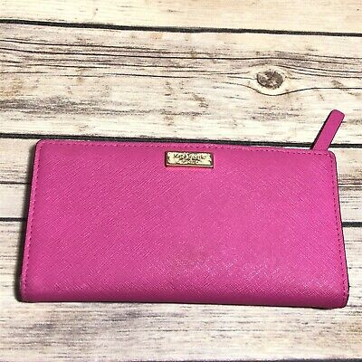 $ CDN24.23 • Buy Kate Spade Bi-Fold Wallet Hot Pink Snap On Closure Cow Leather 6.5  X 3.5