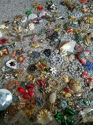 $ CDN38.06 • Buy Vintage Jewelry 1# (One Pound) Lots Brooches Earrings Necklace Signed Unsigned