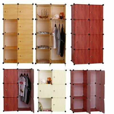 AU29.44 • Buy DIY 6/8 Cube Storage Cupboard Cabinet Wardrobe Rack Toy Book Shelves Compartme