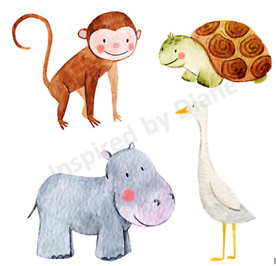 Transparent Sticker From Painted, Animals, Nursery, Childrens, Decal, Cute, 297 • 5.99£