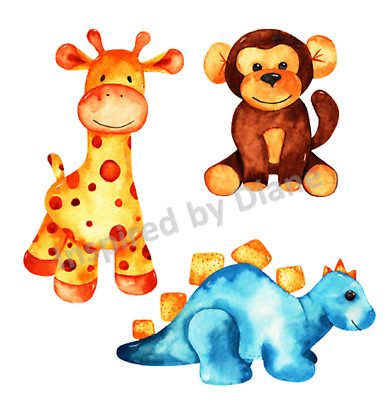 Transparent Sticker From Painted, Animals, Nursery, Children's, Decal, Cute, 301 • 5.99£