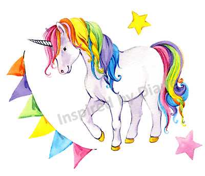 Transparent Wall Sticker From Painted, Rainbow Unicorn, Kids, Nursery, Decal,309 • 7.99£