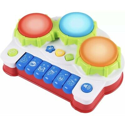 £13.99 • Buy Pup Go Baby Musical 2in1 Drum Piano Toy Music Songs Animal Sounds Light 3+