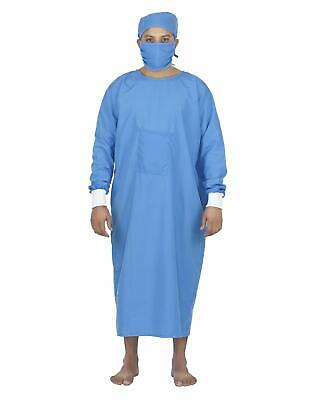 £10.50 • Buy Doctor Gown Reusable Doctors OT Gown With Cap & Mask Blue Gown Hospital Scrub