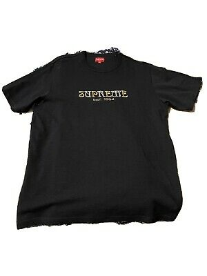$ CDN76.55 • Buy Supreme Nouveau Logo Tee Embroidered Black T-Shirt FW18 Size XL Box Logo
