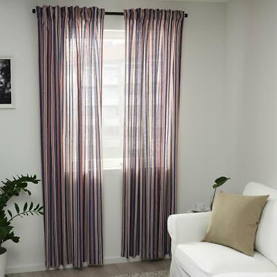 Ikea Pair Of Long Curtains Stripes Net Thick Light Weight Curtains 57 W 98 H • 17.98£