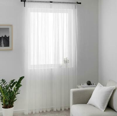 IKEA  Pair Of Long Sheer Floaty White Net Curtains 280 X 250cm FREE POST • 14.98£