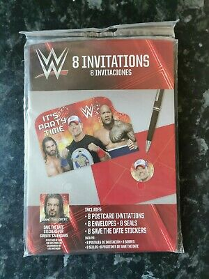 WWE 8 Party Invitations With Envelopes, Seals And Stickers - 490136 • 4.99£