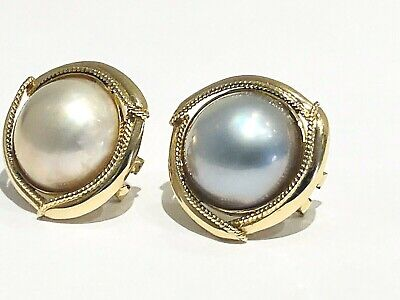 $870 • Buy 14K Solid Yellow Gold 17mm Multi-Color Large Mabe Pearl Earrings.