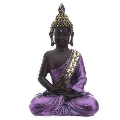 Decorative Purple & Black Thai Buddha - Statue Ornament Figurine 28cm • 28.89£