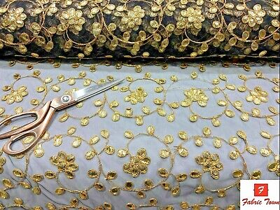 Floral Pattern Gotta Patti Lace Net Fabric For Dressmaking Crafting Material  • 5.99£