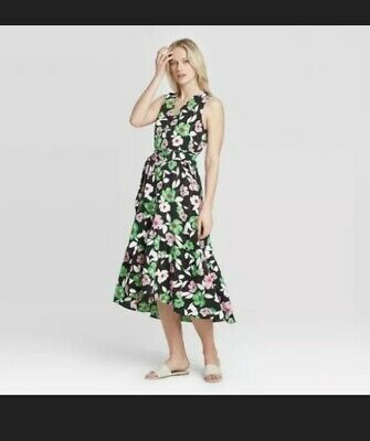Who What Wear Dress Bright Floral Pattern Wrap Style High Low Size Xs • 11.87£