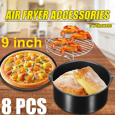 AU25.66 • Buy 8x 9  Inch Oven Barbecue Air Fryer Accessories Baking Cake Pan Tray Pizza Rack