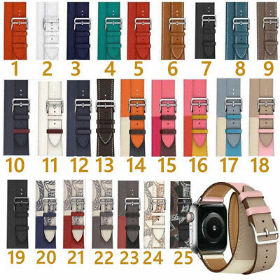 AU19.99 • Buy For Apple Watch 38/40/42/44MM Genuine Leather Band Double Tour Replacement Strap
