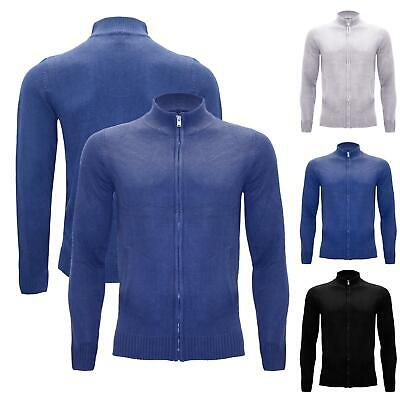 Mens Long Sleeve Zip Up Jumper Winter Warm Knitted Ribbed Sweater Cardigan Top • 5.99£
