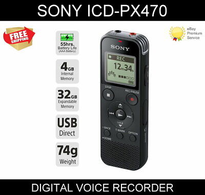 SONY ICD-PX470 Digital Voice Recorder / Dictation Machine 4GB • 36.99£