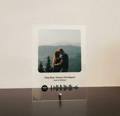 AU34.99 • Buy Photo Music Plaque Spotify Song Clear Frost Black Acrylic Perspex A5 A4 A3 Gift