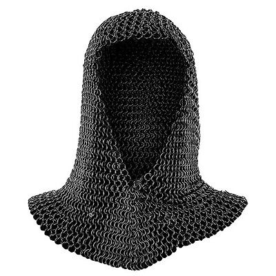 OOSButted Black Steel Chainmail Coif - V Shape - Ideal For Re-Enactment Or LARP • 38.50£
