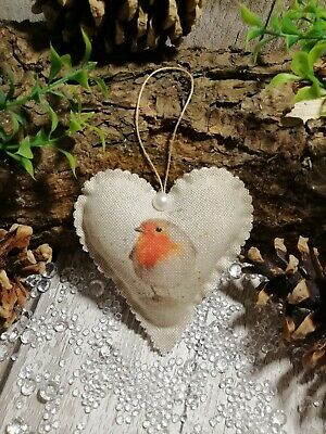 Robin Christmas Tree Decoration Hanging Heart • 3.95£