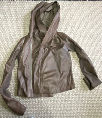 Rick Owens Leather Hooded Jacket - Small Fitting Size 12 • 225£