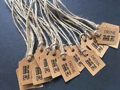 £2.45 • Buy Pack 20 Small Rustic Kraft Drink Me Favour Gift Party Tags Labels + Twine Ties