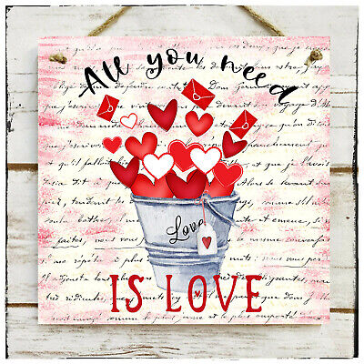 Wooden Hanging Sign All You Need Is Love Valentine's Day Wedding Love Hearts  • 10.50£
