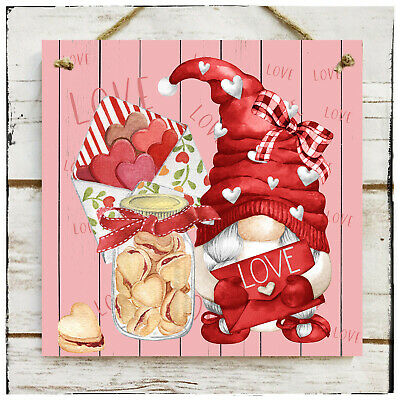 Wooden Hanging Sign Love Gnome Valentine's Day Wedding Love Hearts  • 11.25£