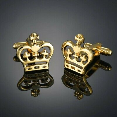 £6.99 • Buy Gold Crown Cufflinks Formal Business Wedding Gift For Suit Shirt