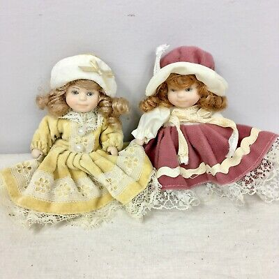 $ CDN12.12 • Buy 2 Porcelain Dolls By Ganz Victorian Dress Baby Small Yellow Pink Jointed Fancy