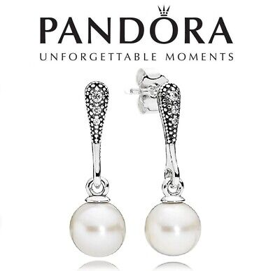 Pandora Elegant White Pearl Dangle Drop Earrings • 39.99£