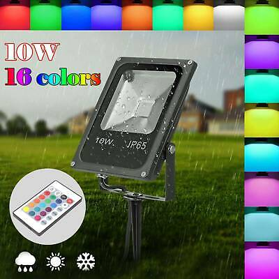 LED RGB 16 Color Changing Floodlight Spotlight Outdoor Garden Lamp Waterproof • 7.99£
