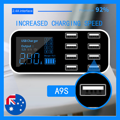 AU25.66 • Buy 8 Multi-Port Quick Charge USB Adapter Charger Smart LED Display Charging Station