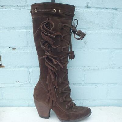 Bronx Suede Leather Boots Size UK 4 Eur 37 Womens Lace Up So Today Brown Boots • 39.99£