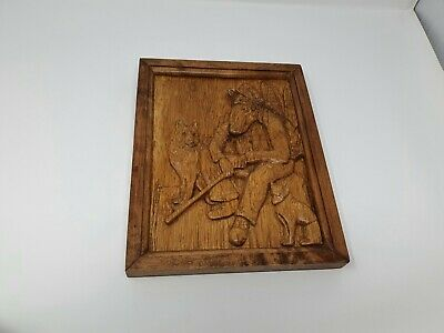 Man & Dogs 100% Homemade Carved Wooden Wall Hanging - Free Uk Shipping • 15£