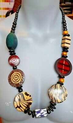 Multi-Coloured Painted Wood Bead Statement Necklace No Clasp • 4.99£