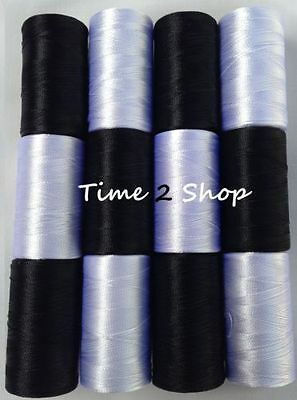 £5.46 • Buy 6 Black & 6 White Silk Rayon Thread Strong Spools JANOME Embroidery | UK