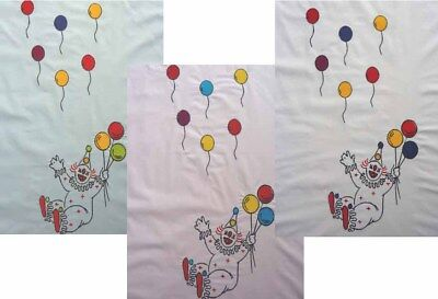 Baby Nursery 100% Cotton Pink Blue Clown Balloons Embroidered Cot Quilt Panel • 9.99£