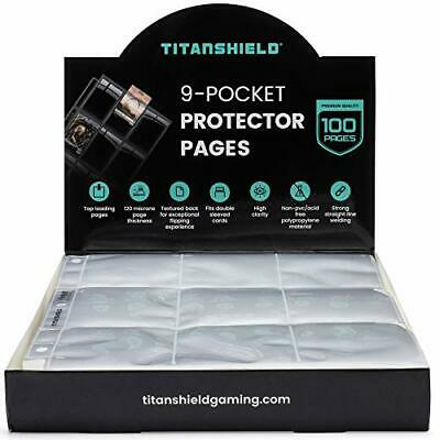 TitanShield (100 Pages) 9-Pocket Trading Card Sleeve Pages For MTG Magic, • 20.29£