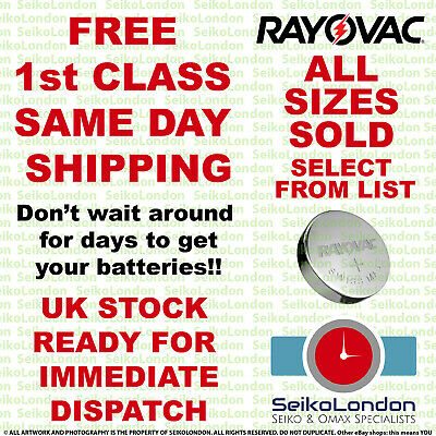£1.89 • Buy Rayovac Silver Oxide Watch Battery 1.55v ALL SIZES OF WATCH BATTERIES!!