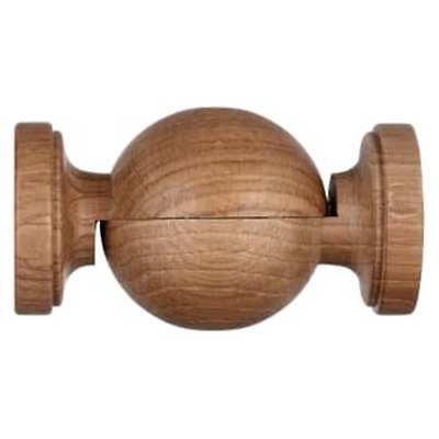 John Lewis 35mm Solid Oak Curtain Pole Angled Flexible Bay Join Corner Bend  • 13.99£