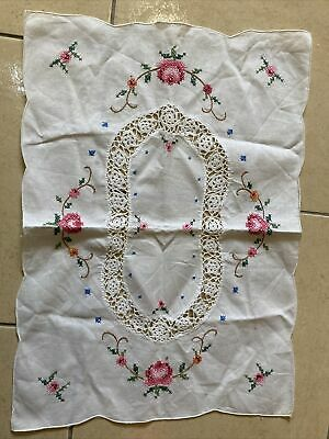 Vintage Dressing Table Mat Embroidered White Linen With Crochet Inset 49 X 35 Cm • 5£