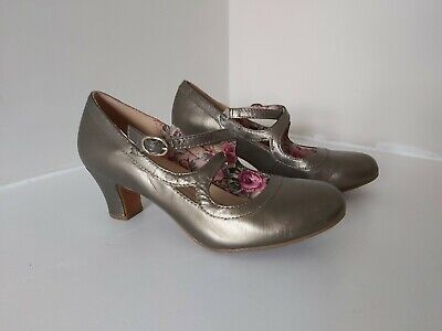 HOTTER Size UK 4.5 Pewter Metalic Leather Court Shoes WORN JUST ONCE • 17.99£
