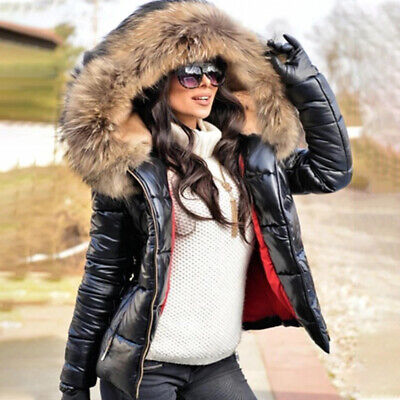 Winter Womens Down Parka Fur Collar Hoody Coat Quilted Causal Jacket Outwear • 28.59£
