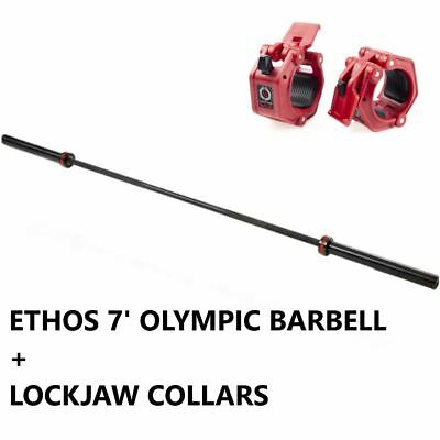 AU448.31 • Buy Ethos 7' Ft Olympic Barbell 45 Lb And LockJaw Collars - 1000lb Capacity Home Gym