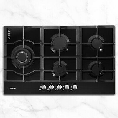 AU303.85 • Buy Easy Ignition Gas Cooktop 5-Burner Stove Cast Iron Grates Stainless Steel Knobs