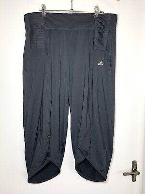 AU25 • Buy Womens ADIDAS Black Gold Logo Relaxed Fit 3/4 Pants Size L #19017