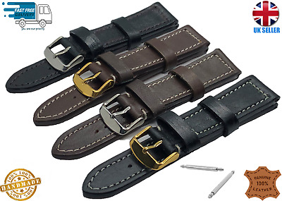 HANDMADE REAL LEATHER WATCH STRAP BAND BLACK BROWN 18-20-22-24MM Omega • 5.59£