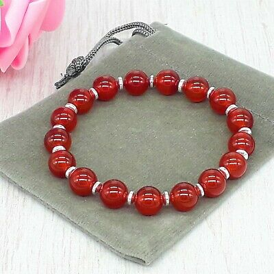 Handmade Natural Red Carnelian Gemstone Stretch Bracelet & Velvet Pouch 4/6/8mm • 4.99£